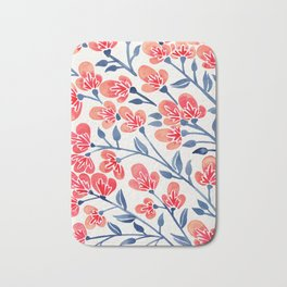 Cherry Blossoms – Melon & Navy Palette Bath Mat