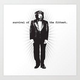 Survival of the Fittest (Monkey in Tuxedo) Art Print