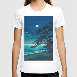 Vintage Japanese Woodblock Print Moonlight Over Ocean Japanese Landscape Tall Tree Silhouette T-shirt