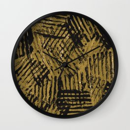 Black golden abstract painting Wall Clock