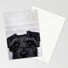 Black Schnauzer Dog illustration original painting print Stationery Cards