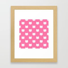Cat minimal illustration pet cats head drawing digital pattern pink and white nursery art Framed Art Print