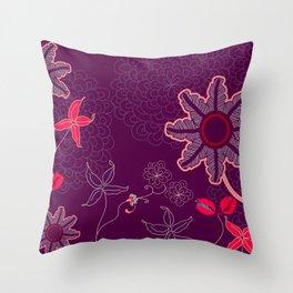 jungle delights deep velvet art print Throw Pillow