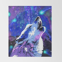 WOLF MOON AND SHOOTING STARS Throw Blanket