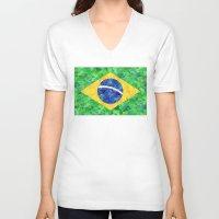 brasil V-neck T-shirts featuring BRASIL em progresso by Bianca Green