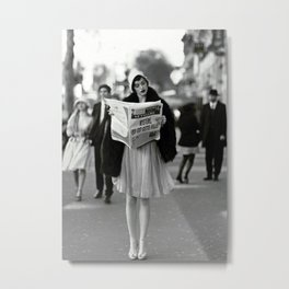 Roaring Twenties French Flapper Girl Reading Newspaper on the Street, Paris female portrait black and white photography - photographs Metal Print