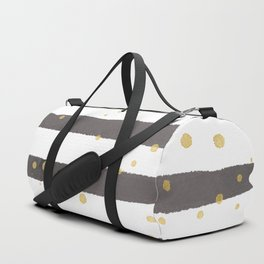 Modern gray yellow white watercolor splatters stripes Duffle Bag