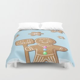 Merry Christmas Blue Poster with Gingerbread Man and Snowflakes Duvet Cover