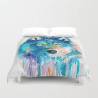 wolf Duvet Covers featuring Wolf by Slaveika Aladjova
