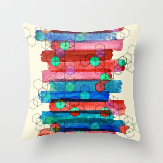 Shape Shifting & Shadow Boxing - watercolor stripes & hexagon pattern Throw Pillow
