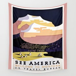 See America Montana travel ad Wall Tapestry