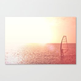 Windsurfer against of beautiful sea view. Unrecognizable. Pink toned. Canvas Print