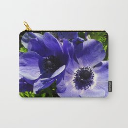 Two Blue Mauve Anemone - Close Up Windflowers  Carry-All Pouch