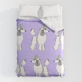 White Standard Poodles with Lavender Comforters