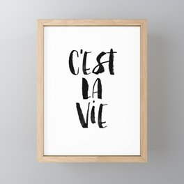 C'est La Vie black and white watercolor typography wall art home decor hand lettered life quote Framed Mini Art Print