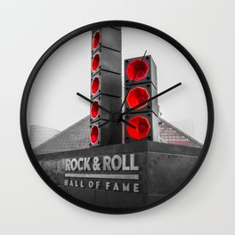 Cleveland Ohio Rock And Roll Hall Of Fame Black White Red Wall Clock