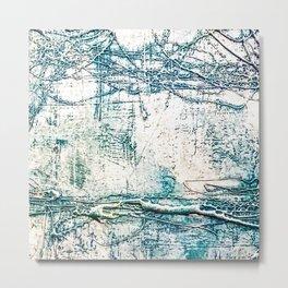 Subtle Blue Textured Acrylic Painting Metal Print