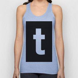 letter T (White & Black) Unisex Tank Top