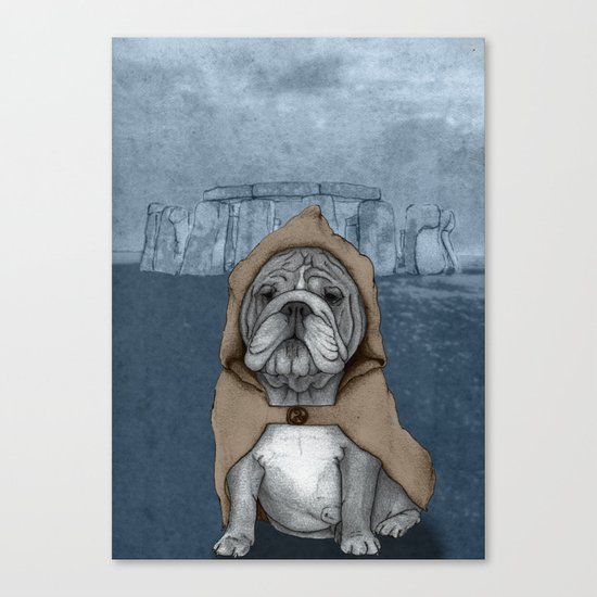 English Bulldog in Stonehenge Canvas Print