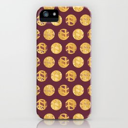 Gilded Circles - (Maroon Background) iPhone Case