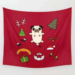 Christmas Pug Doll Wall Tapestry