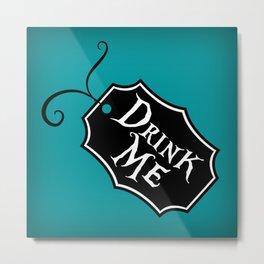 """Drink Me"" Alice in Wonderland styled Bottle Tag Design in 'Alice Blue' Metal Print"