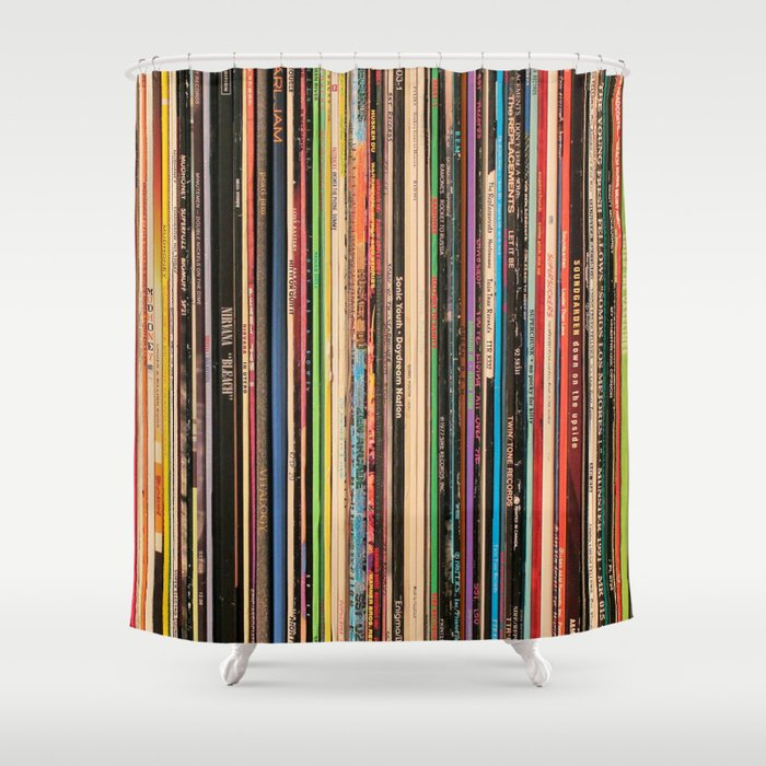 Alternative Rock Vinyl Records Shower Curtain By Nmtdot