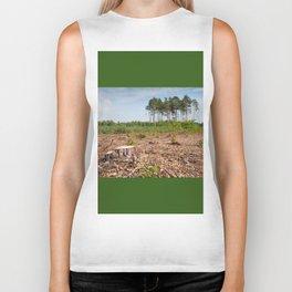Woods logging one stump after deforestation Biker Tank