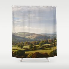 Sunset over trees in the valley. Derbyshire, UK. Shower Curtain