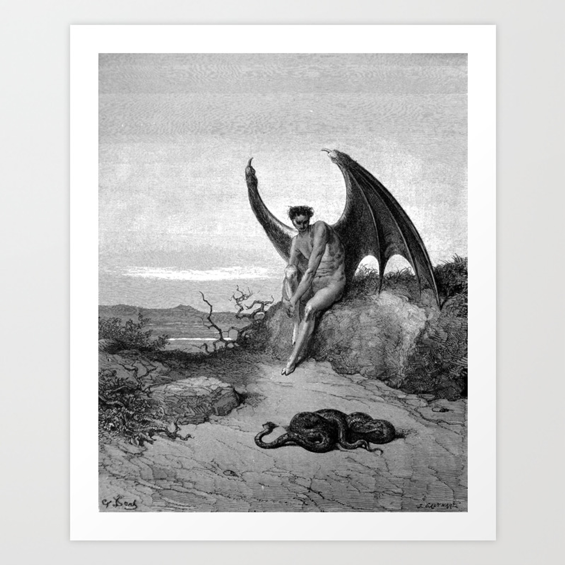 Lucifer the fallen angel gustave dore art print