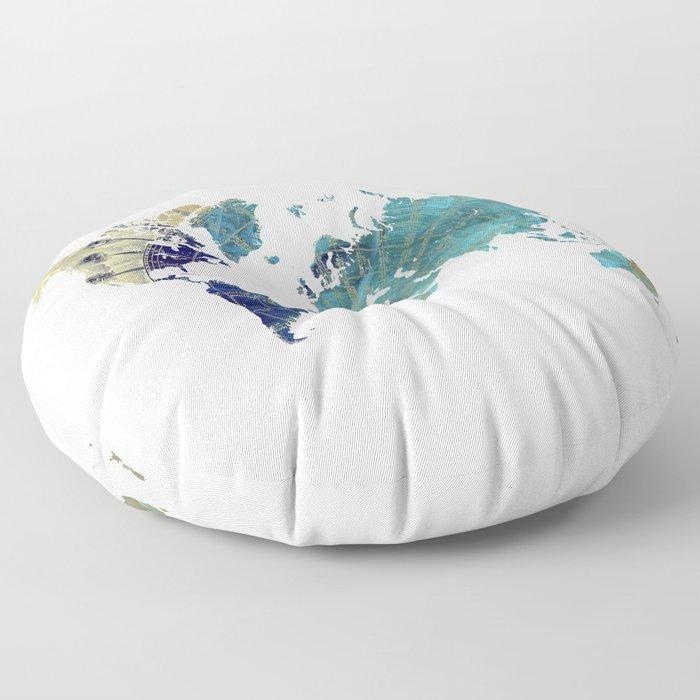 World Map Wind Rose Floor Pillow