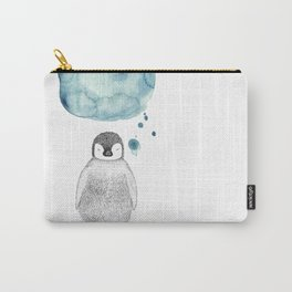 Dreaming Penguin - Blue Watercolor Carry-All Pouch
