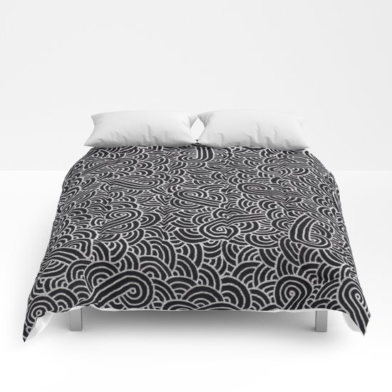 Black and faux silver swirls doodles Comforters