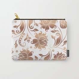 Light Copper & White Floral Damasks Carry-All Pouch