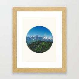 Mid Century, Modern, Round, Circle, Photo, Snow Mountain, Green Valley, Landscape Framed Art Print