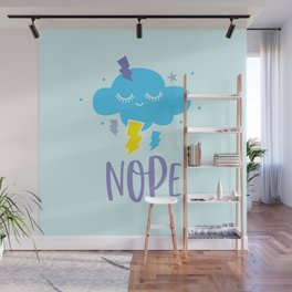 nope cloud sleepy eyes cute kawaii gift Wall Mural