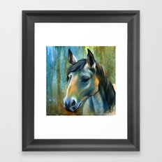 Horse in Blue Framed Art Print
