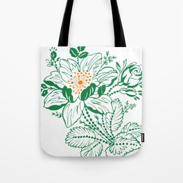 Japanese Style Green with Orange Flowers Tote Bag