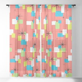 Living Coral Retro Inspired Sheer Curtain