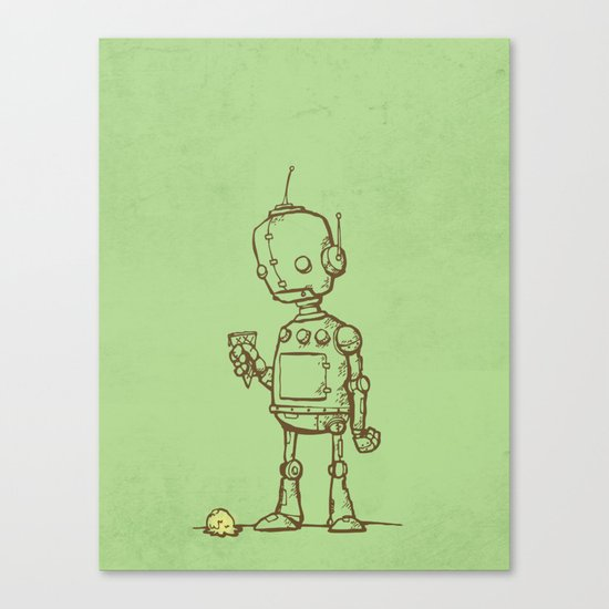 A Robot's Ice Cream Canvas Print