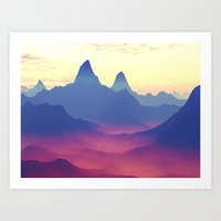 ashton irwin Art Prints featuring Mountains of Another World by Phil Perkins