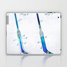 Blue Hockey Stick Art Patent - Sharon Cummings Laptop & iPad Skin