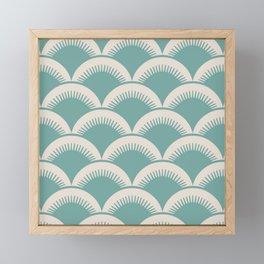 Japanese Fan Pattern Foam Green and Beige Framed Mini Art Print