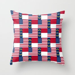 Mix of flag : Usa and north carolina Throw Pillow