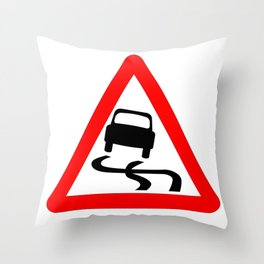 Danger SkiddingTraffic Sign Isolated Throw Pillow