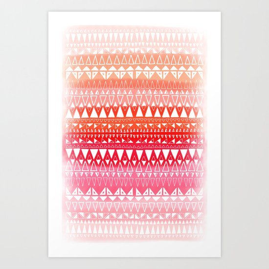 Triangle Gradient Pink Mix Art Print