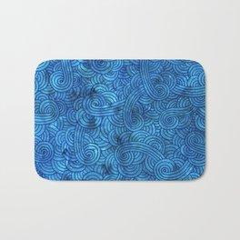 Turquoise blue swirls doodles Bath Mat