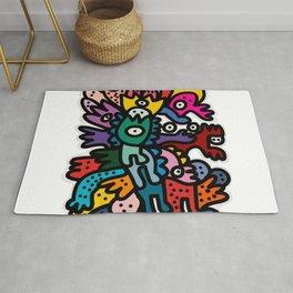Cool Street Art Fun Multicolor Creatures Rug