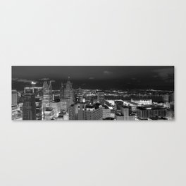 Among Detroit Skyscrapers Panorama Canvas Print