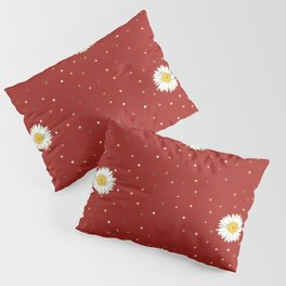 Daisy Flower seamless White and Yellow pattern and Gold Confetti on Red Background Pillow Sham